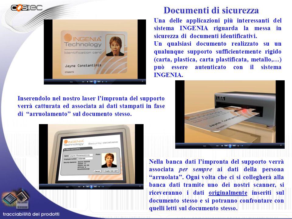 Documenti di sicurezza Una delle applicazioni più interessanti del sistema INGENIA riguarda la messa in sicurezza di documenti identificativi. Un qual