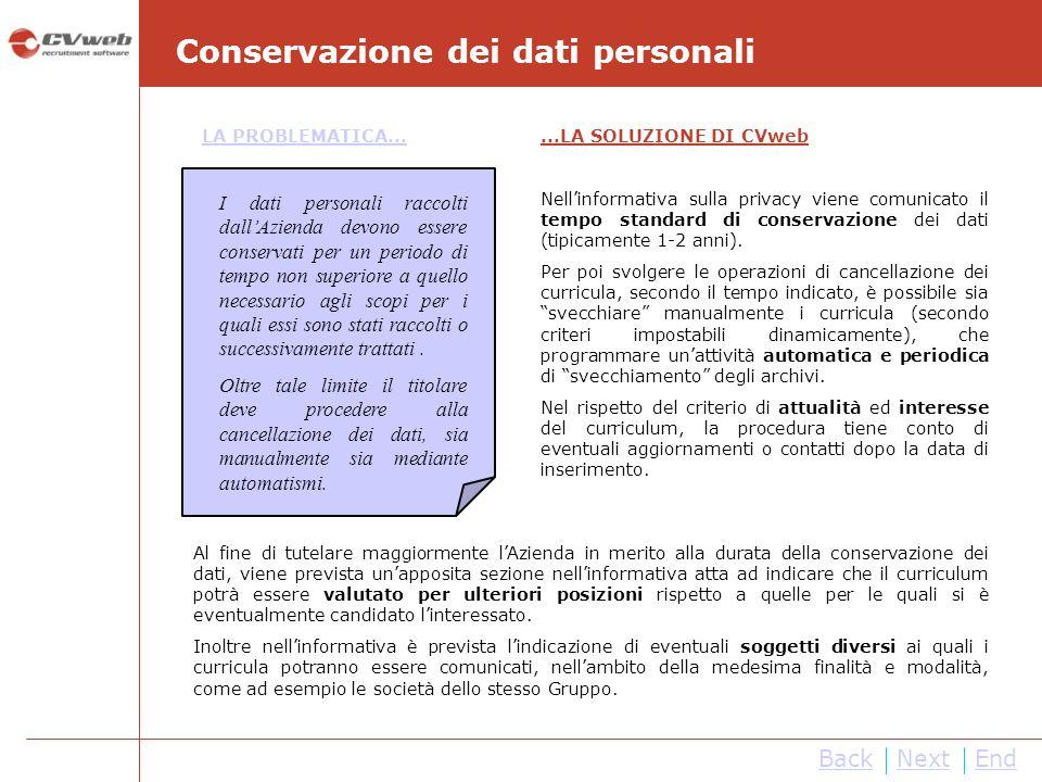 NextEnd Conservazione dei dati personali Back LA PROBLEMATICA......LA SOLUZIONE DI CVweb Nellinformativa sulla privacy viene comunicato il tempo standard di conservazione dei dati (tipicamente 1-2 anni).