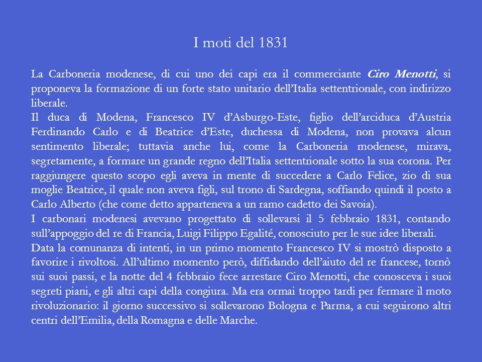 Poiché né Vittorio Emanuele I né il fratello di questi, Carlo Felice, avevano figli maschi, il trono sarebbe passato a Carlo Alberto, che proveniva da