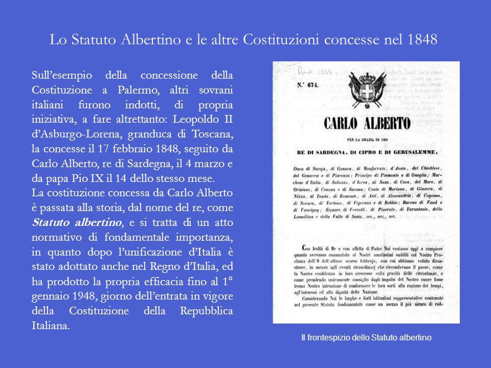 Linsurrezione del 1848 a Palermo Il 12 gennaio 1848 a Palermo scoppiò la rivolta, che in poco tempo si propagò in tutta lisola. Il re delle Due Sicili