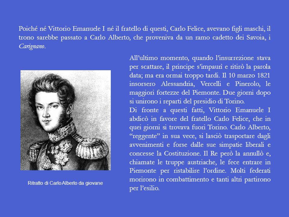 I moti del 1821 in Piemonte L11 gennaio 1821 a Torino vennero arrestati quattro universitari per avere manifestato in favore dei moti di Napoli (v. di
