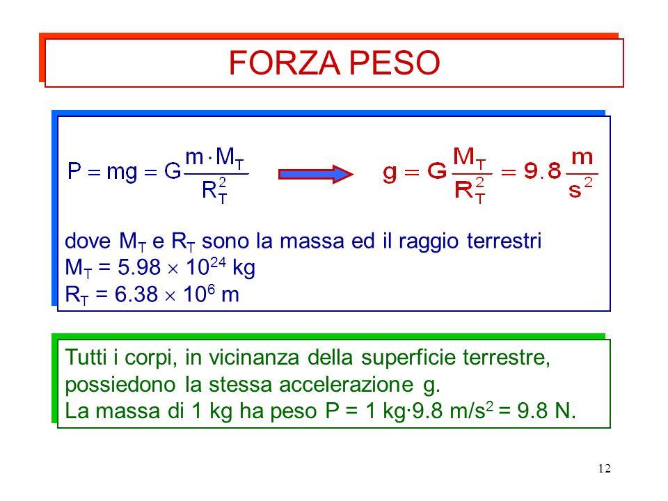 12 Tutti i corpi, in vicinanza della superficie terrestre, possiedono la stessa accelerazione g. La massa di 1 kg ha peso P = 1 kg·9.8 m/s 2 = 9.8 N.
