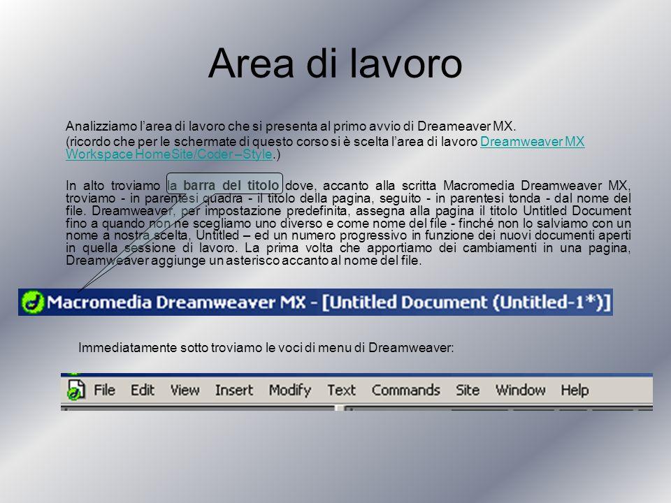 Area di lavoro Analizziamo larea di lavoro che si presenta al primo avvio di Dreameaver MX.