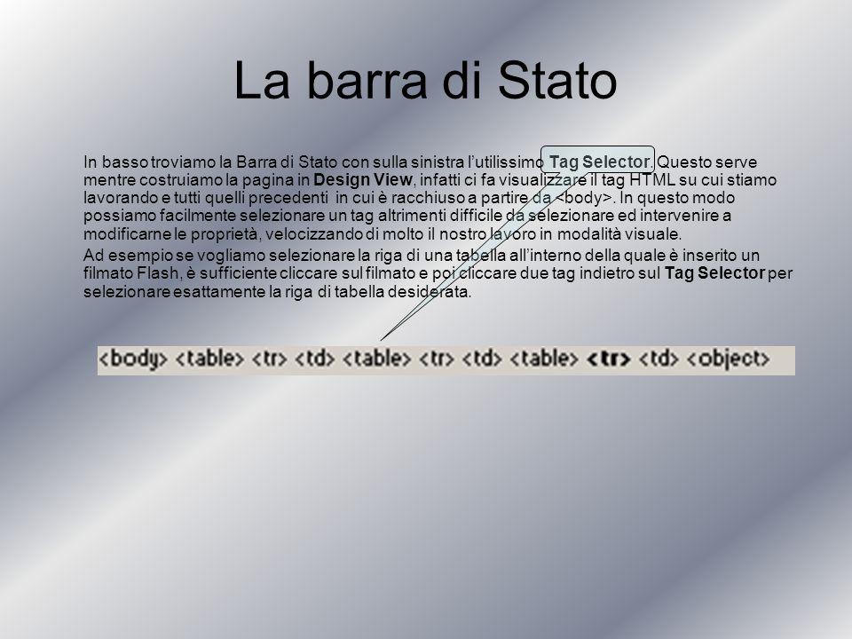 La barra di Stato In basso troviamo la Barra di Stato con sulla sinistra lutilissimo Tag Selector.