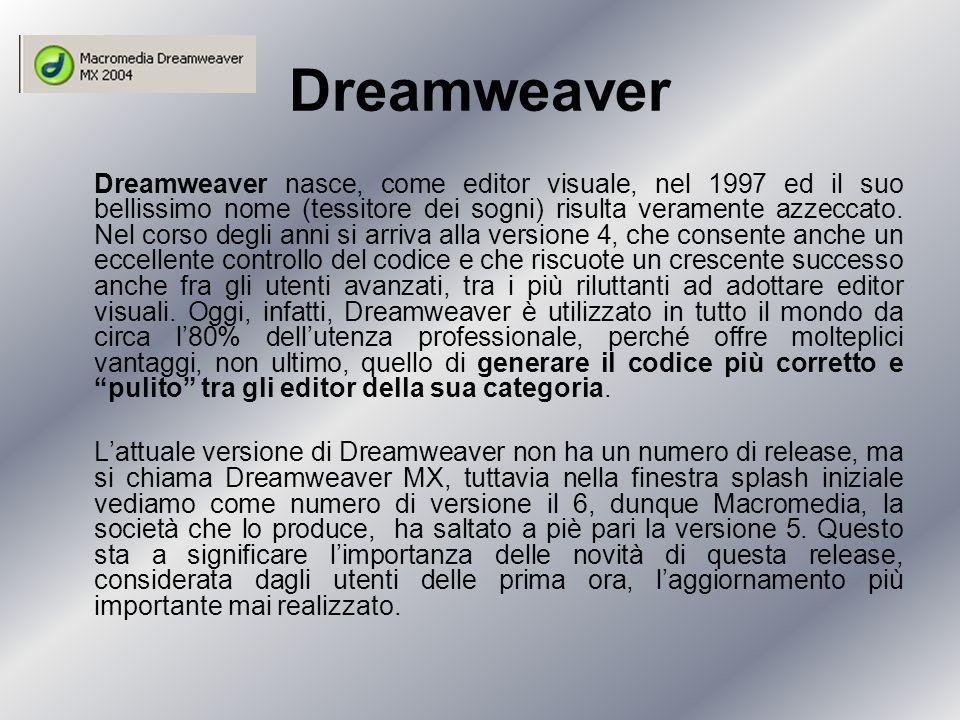 Dreamweaver Dreamweaver nasce, come editor visuale, nel 1997 ed il suo bellissimo nome (tessitore dei sogni) risulta veramente azzeccato.