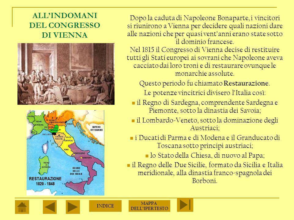 ALLINDOMANI DEL CONGRESSO DI VIENNA Dopo la caduta di Napoleone Bonaparte, i vincitori si riunirono a Vienna per decidere quali nazioni dare alle nazioni che per quasi ventanni erano state sotto il dominio francese.