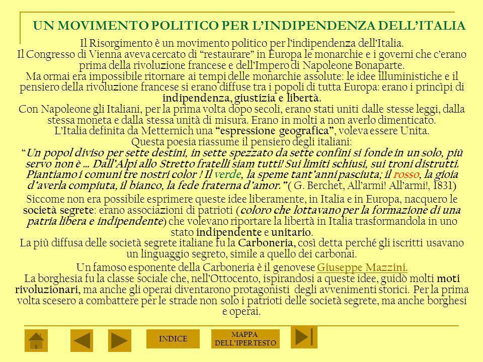 UN MOVIMENTO POLITICO PER LINDIPENDENZA DELLITALIA Il Risorgimento è un movimento politico per lindipendenza dellItalia.