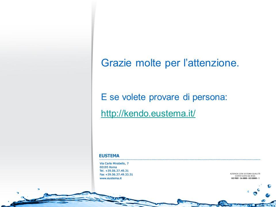 Grazie molte per lattenzione. E se volete provare di persona: http://kendo.eustema.it/