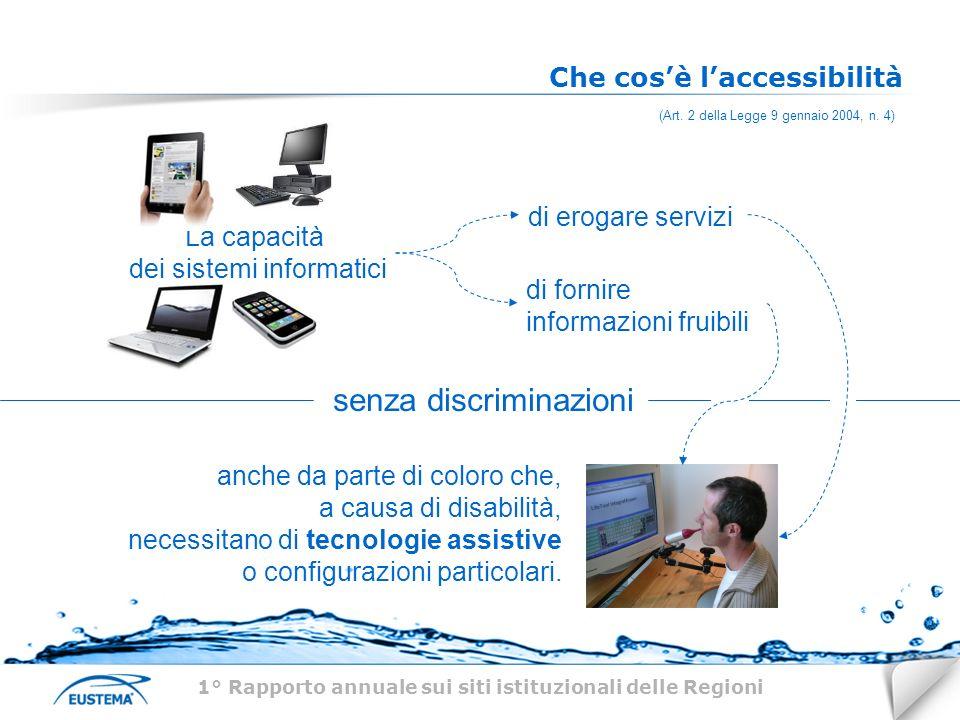 Che cosè laccessibilità La capacità dei sistemi informatici di erogare servizi di fornire informazioni fruibili senza discriminazioni anche da parte di coloro che, a causa di disabilità, necessitano di tecnologie assistive o configurazioni particolari.