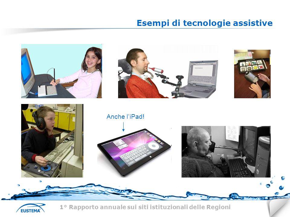 Esempi di tecnologie assistive 1° Rapporto annuale sui siti istituzionali delle Regioni Anche liPad!