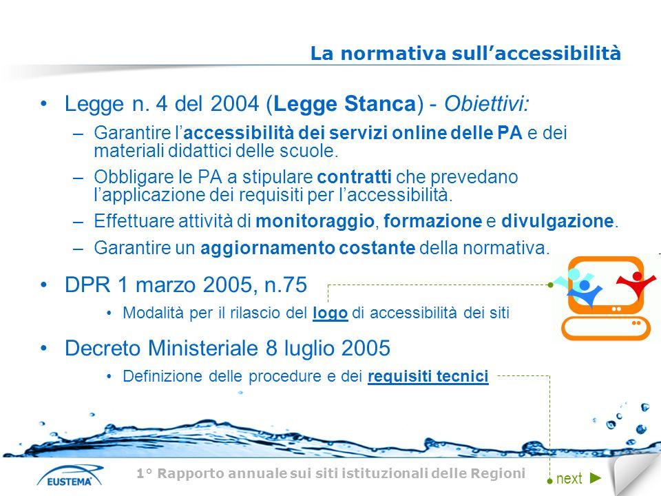 La normativa sullaccessibilità Legge n. 4 del 2004 (Legge Stanca) - Obiettivi: –Garantire laccessibilità dei servizi online delle PA e dei materiali d