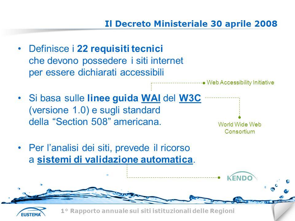 Il Decreto Ministeriale 30 aprile 2008 Definisce i 22 requisiti tecnici che devono possedere i siti internet per essere dichiarati accessibili Si basa sulle linee guida WAI del W3C (versione 1.0) e sugli standard della Section 508 americana.