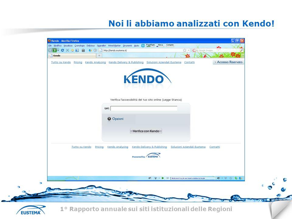 Noi li abbiamo analizzati con Kendo! 1° Rapporto annuale sui siti istituzionali delle Regioni
