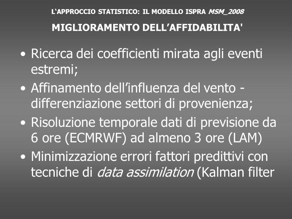 Ricerca dei coefficienti mirata agli eventi estremi; Affinamento dellinfluenza del vento - differenziazione settori di provenienza; Risoluzione temporale dati di previsione da 6 ore (ECMRWF) ad almeno 3 ore (LAM) Minimizzazione errori fattori predittivi con tecniche di data assimilation (Kalman filter LAPPROCCIO STATISTICO: IL MODELLO ISPRA MSM_2008 MIGLIORAMENTO DELLAFFIDABILITA