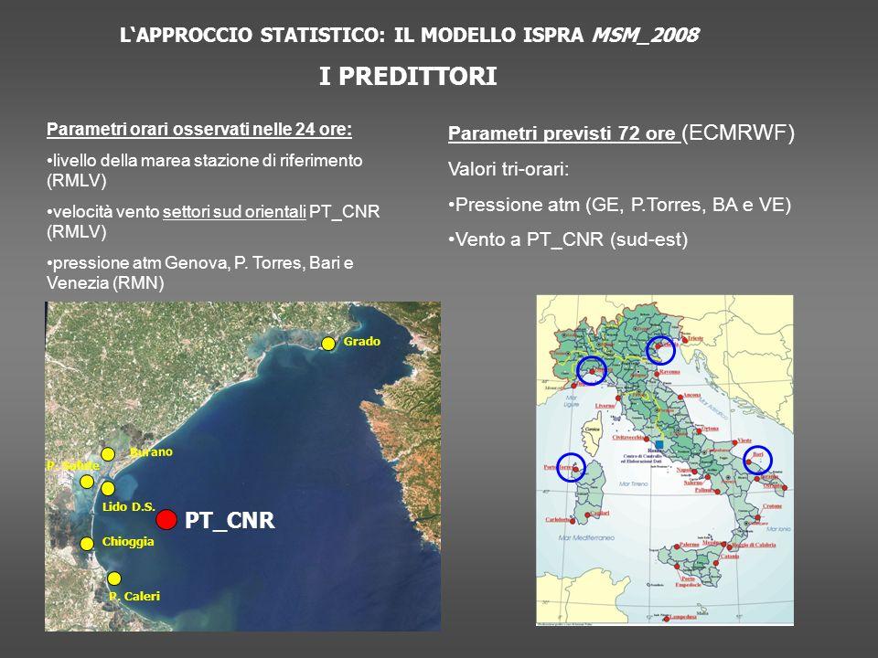 LAPPROCCIO STATISTICO: IL MODELLO ISPRA MSM_2008 I PREDITTORI Parametri orari osservati nelle 24 ore: livello della marea stazione di riferimento (RMLV) velocità vento settori sud orientali PT_CNR (RMLV) pressione atm Genova, P.