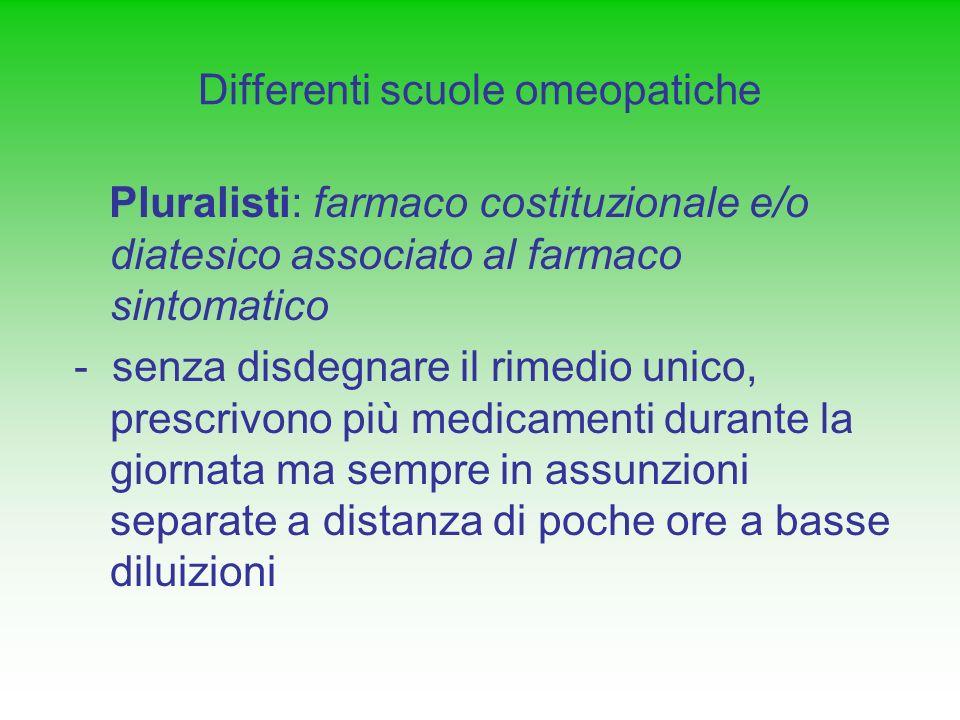 Differenti scuole omeopatiche Pluralisti: farmaco costituzionale e/o diatesico associato al farmaco sintomatico - senza disdegnare il rimedio unico, p