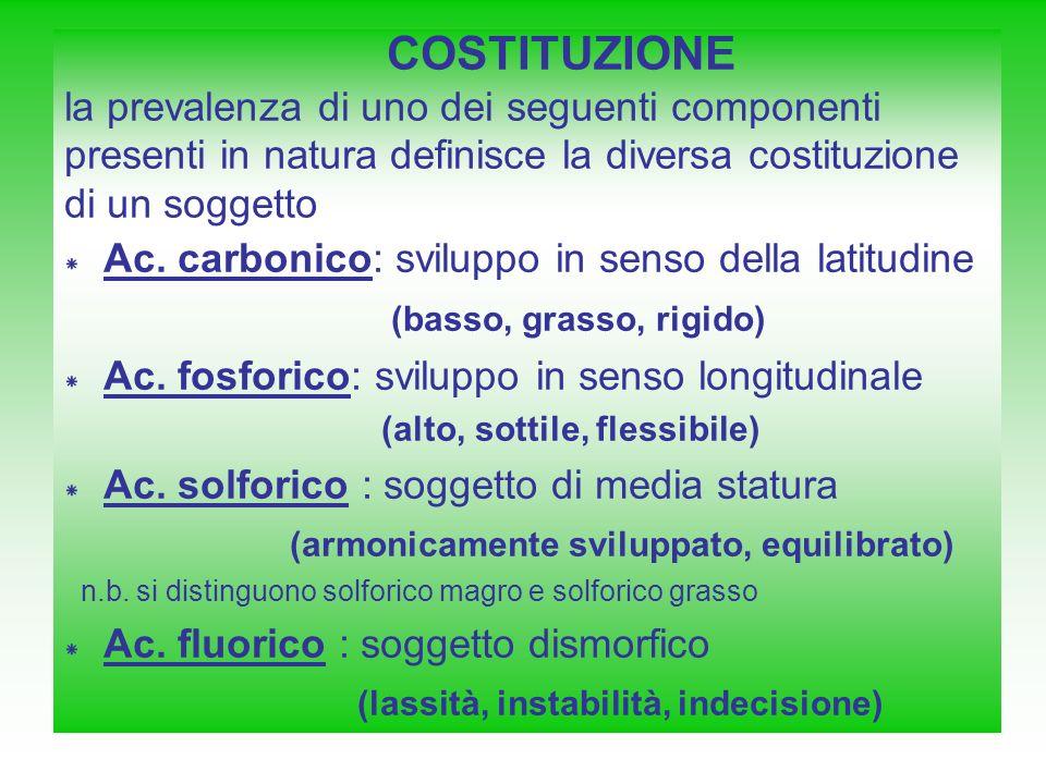 COSTITUZIONE la prevalenza di uno dei seguenti componenti presenti in natura definisce la diversa costituzione di un soggetto * Ac. carbonico: svilupp