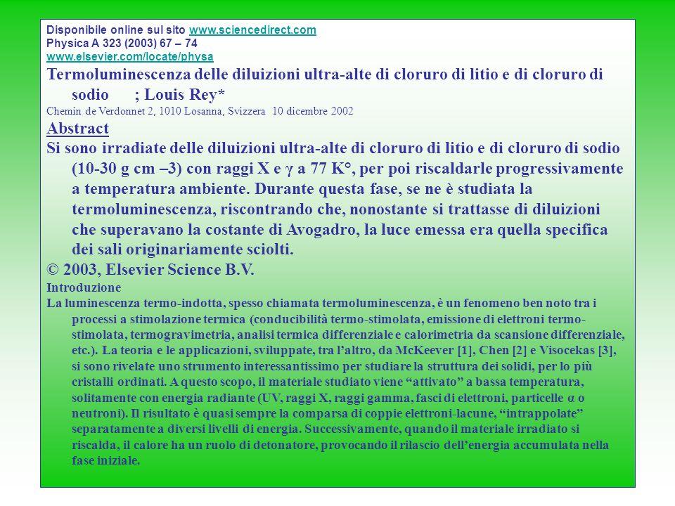Disponibile online sul sito www.sciencedirect.comwww.sciencedirect.com Physica A 323 (2003) 67 – 74 www.elsevier.com/locate/physa Termoluminescenza de