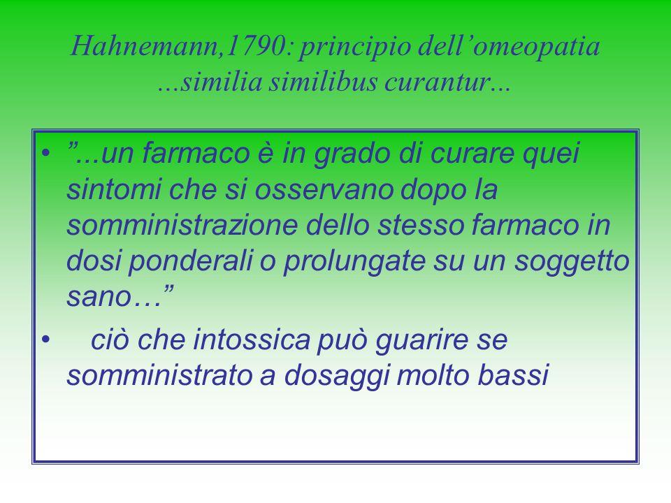 Hahnemann,1790: principio dellomeopatia...similia similibus curantur......un farmaco è in grado di curare quei sintomi che si osservano dopo la sommin