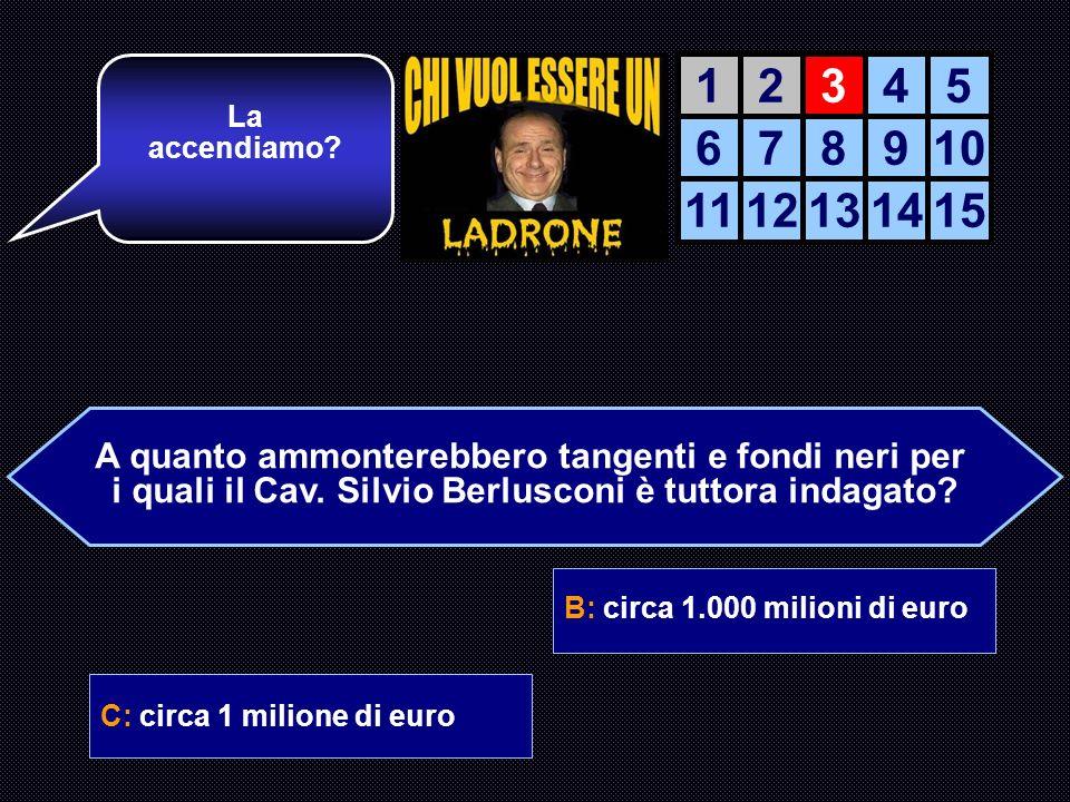 A: 72,43 euro + IVA B: circa 1.000 milioni di euro C: circa 1 milione di euroD: E una calunnia comunista Ok! Ora passiamo alla terza domanda. AIUTO DE