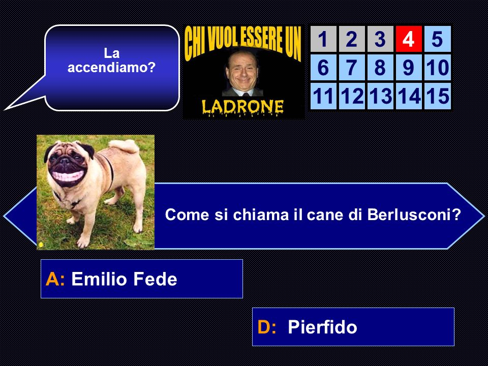 A: Emilio FedeB: Bruno Vespa C: DAlemaD: Pierfido Avanti così.