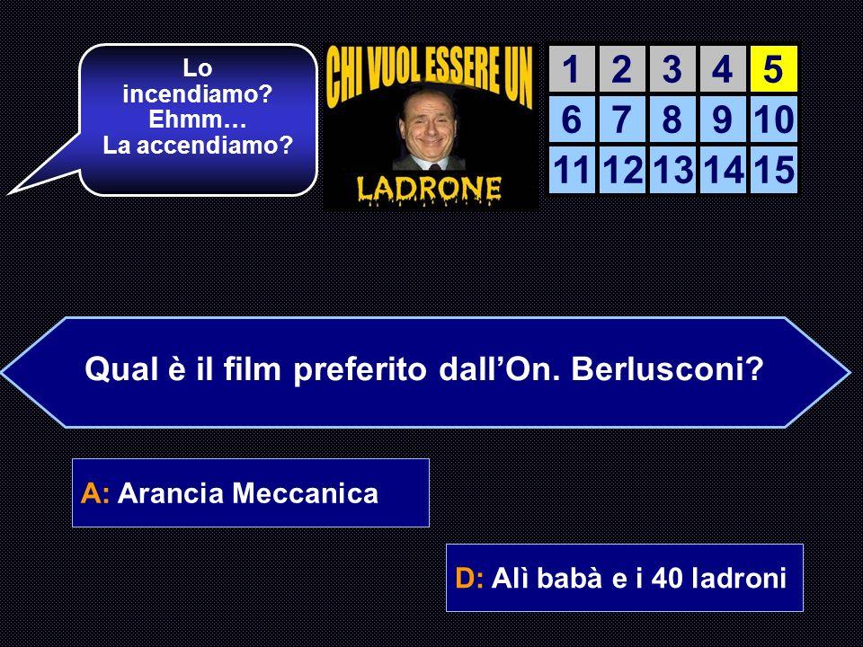 A: Arancia Meccanica B: Bulli e Pupe C: Totò Sceicco D: Alì babà e i 40 ladroni Perfetto! Domanda sul cinema e primo traguardo… AIUTO DEL AIUTO DEL CO