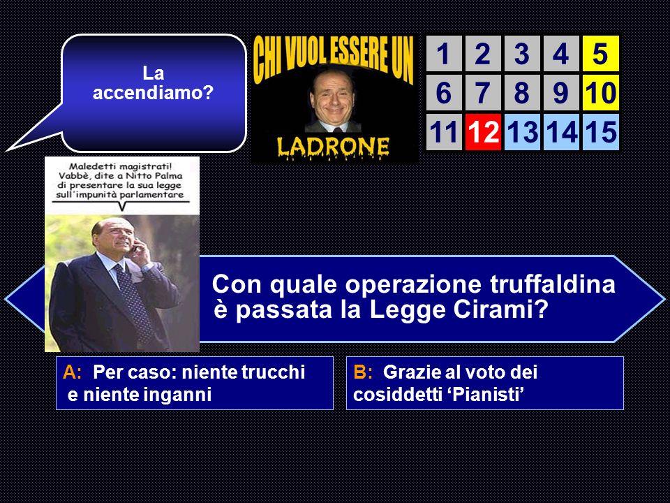 A: Per caso: niente trucchi e niente inganni B: Grazie al voto dei cosiddetti Pianisti C: Tutta colpa delle Toghe Rosse comuniste D: E stata unidea di Rocco Buttiglione Ottimo.