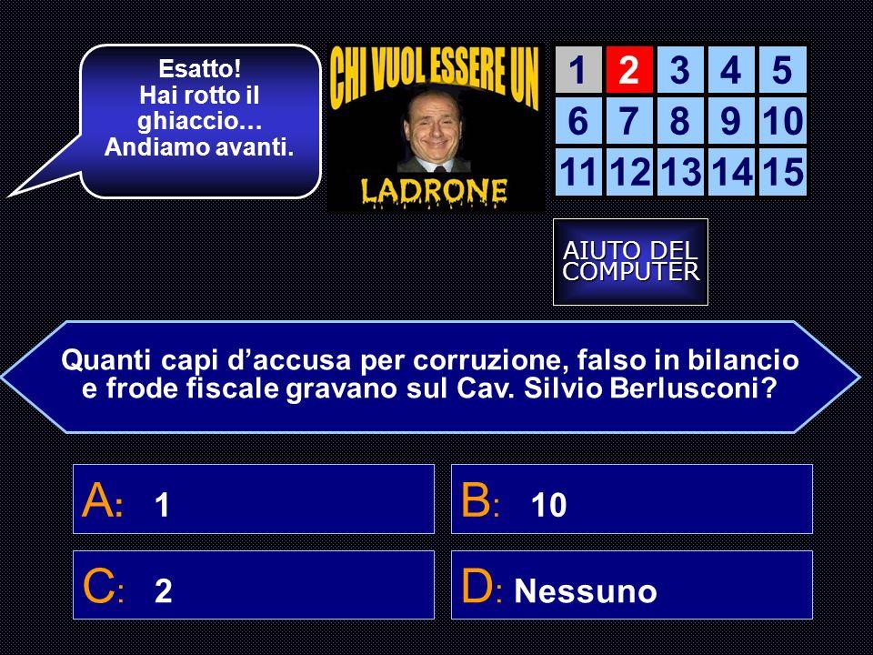 La Accendiamo? 12345 678910 1112131415 Quante TV controlla Berlusconi? B: TutteA: Nessuna