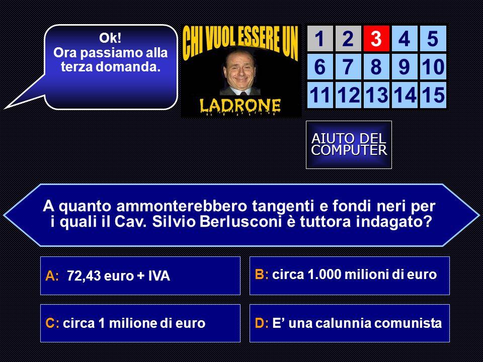A: 72,43 euro + IVA B: circa 1.000 milioni di euro C: circa 1 milione di euroD: E una calunnia comunista Ok.