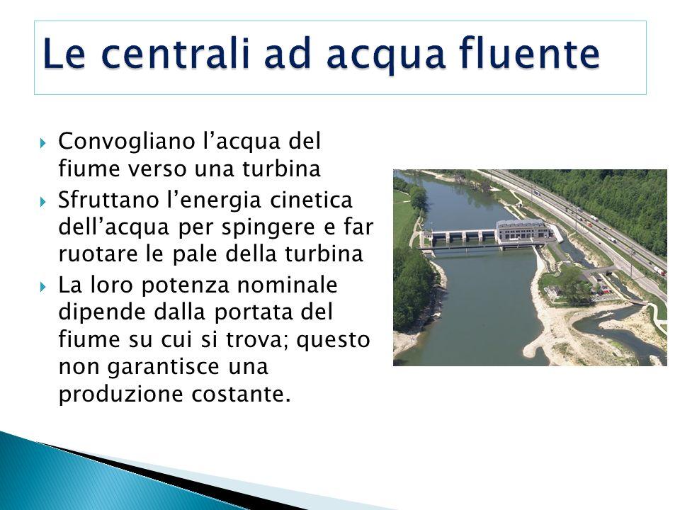 Convogliano lacqua del fiume verso una turbina Sfruttano lenergia cinetica dellacqua per spingere e far ruotare le pale della turbina La loro potenza