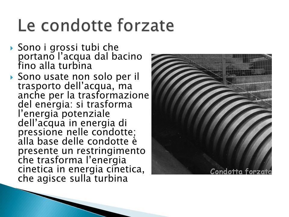 Sono i grossi tubi che portano lacqua dal bacino fino alla turbina Sono usate non solo per il trasporto dellacqua, ma anche per la trasformazione del