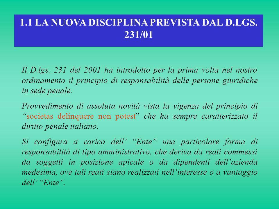 1.1 LA NUOVA DISCIPLINA PREVISTA DAL D.LGS. 231/01 Il D.lgs. 231 del 2001 ha introdotto per la prima volta nel nostro ordinamento il principio di resp