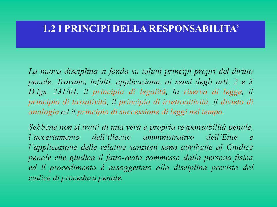 1.2 I PRINCIPI DELLA RESPONSABILITA La nuova disciplina si fonda su taluni principi propri del diritto penale. Trovano, infatti, applicazione, ai sens