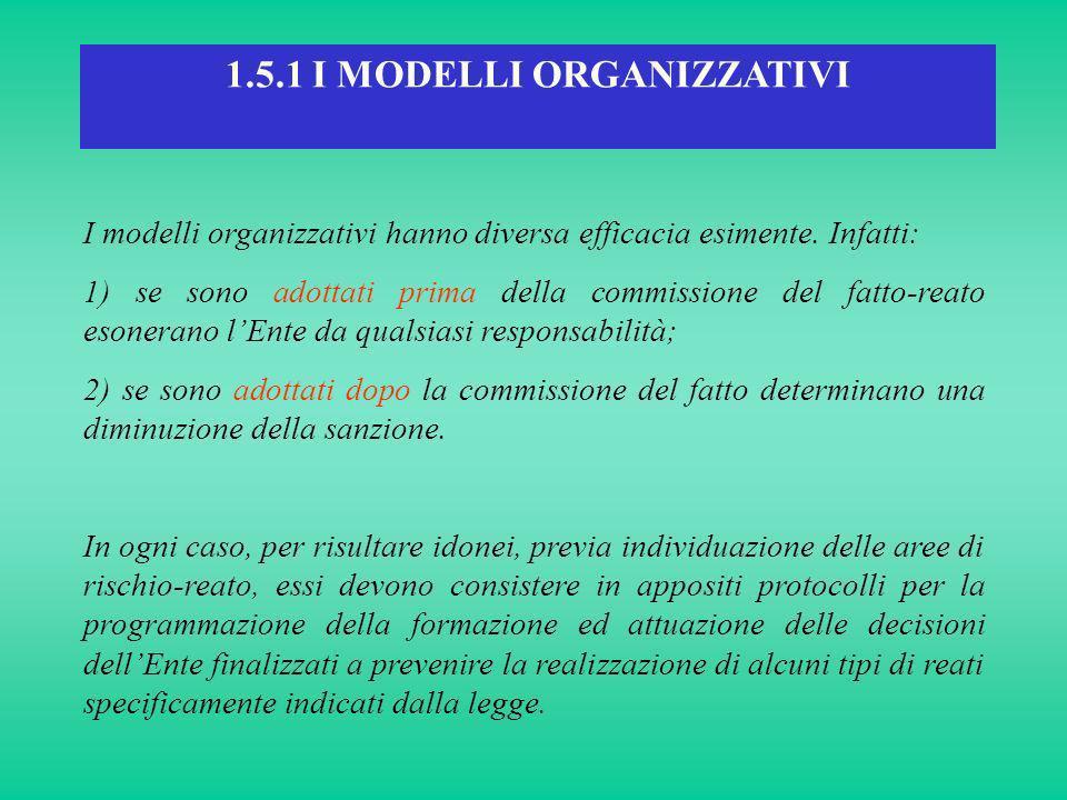 1.5.1 I MODELLI ORGANIZZATIVI I modelli organizzativi hanno diversa efficacia esimente. Infatti: 1) se sono adottati prima della commissione del fatto