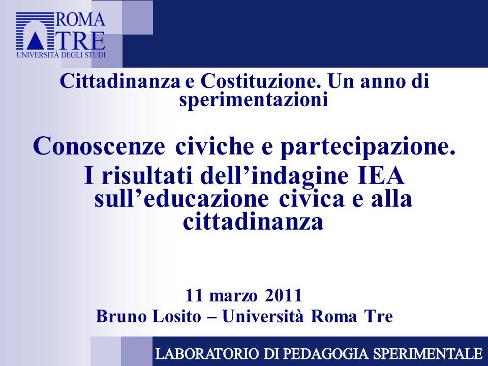 ICCS International Civic and Citizenship Education Study IEA (International Association for the Evaluation of Educational Achievement) Lindagine ICCS è la terza indagine realizzata della IEA in questo ambito Rilevazione: 2009 Popolazione: studenti allottavo anno di scuola