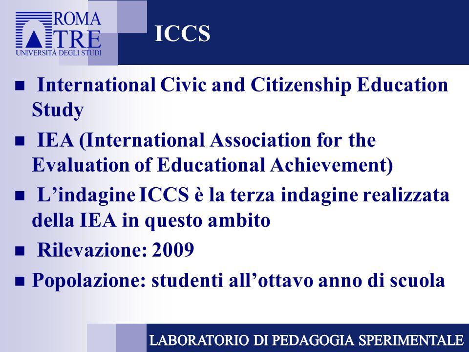 ICCS Consorzio internazionale (ACER, NFER, Roma Tre) In Italia: Invalsi 38 paesi partecipanti, di cui 26 Europei Dati relativi a più di 140.000 studenti al quarto anno di scolarizzazione, in più di 5.300 scuole.