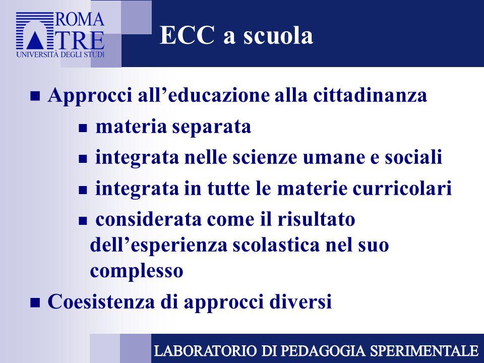 ECC a scuola Approcci alleducazione alla cittadinanza materia separata integrata nelle scienze umane e sociali integrata in tutte le materie curricolari considerata come il risultato dellesperienza scolastica nel suo complesso Coesistenza di approcci diversi