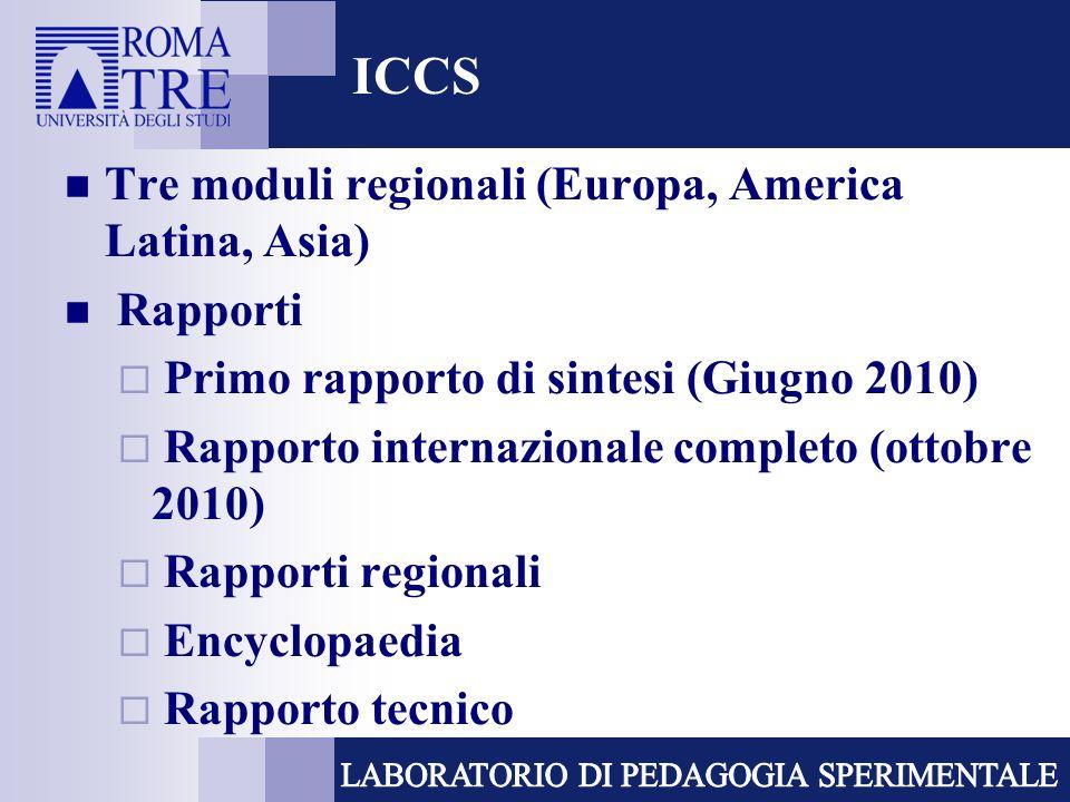 ICCS Tre moduli regionali (Europa, America Latina, Asia) Rapporti Primo rapporto di sintesi (Giugno 2010) Rapporto internazionale completo (ottobre 2010) Rapporti regionali Encyclopaedia Rapporto tecnico