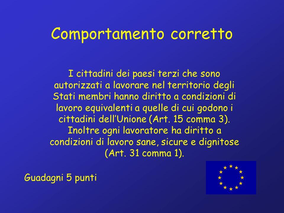 Comportamento corretto I cittadini dei paesi terzi che sono autorizzati a lavorare nel territorio degli Stati membri hanno diritto a condizioni di lavoro equivalenti a quelle di cui godono i cittadini dellUnione (Art.