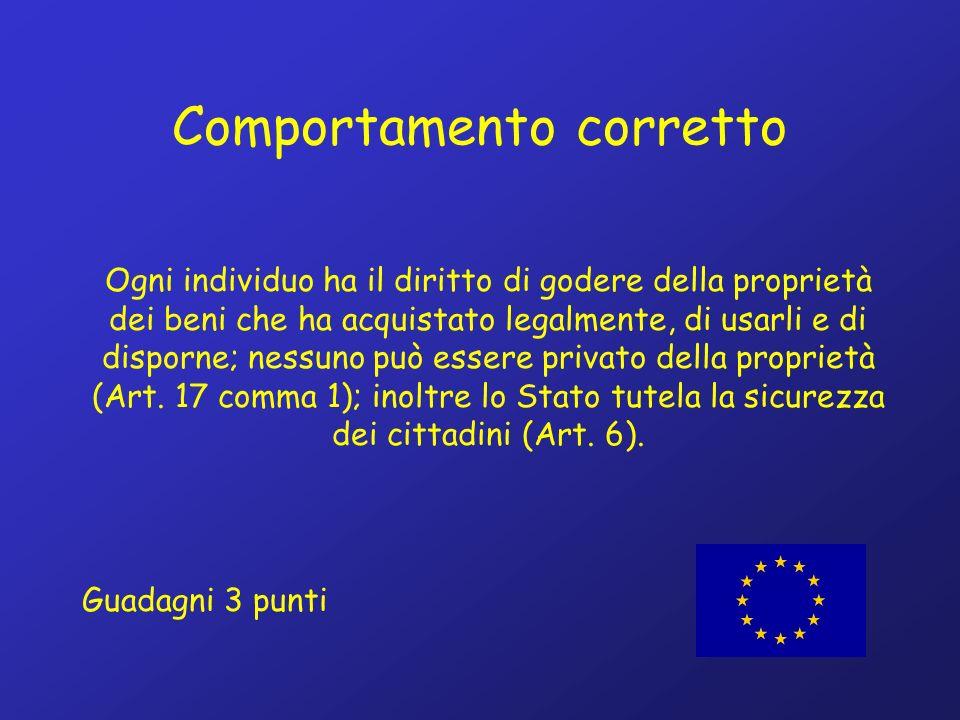 Comportamento corretto Ogni individuo ha il diritto di godere della proprietà dei beni che ha acquistato legalmente, di usarli e di disporne; nessuno può essere privato della proprietà (Art.