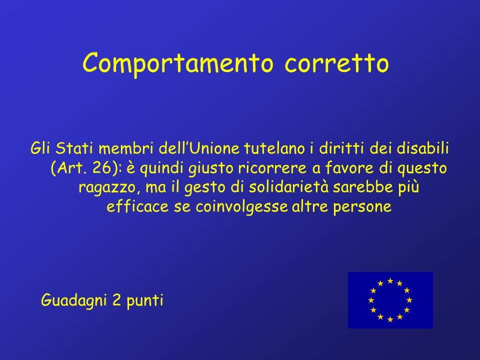Comportamento corretto Gli Stati membri dellUnione tutelano i diritti dei disabili (Art.