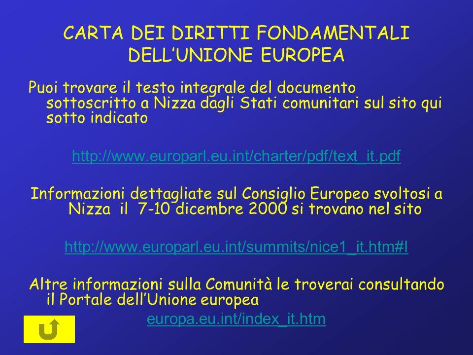 CARTA DEI DIRITTI FONDAMENTALI DELLUNIONE EUROPEA Puoi trovare il testo integrale del documento sottoscritto a Nizza dagli Stati comunitari sul sito qui sotto indicato http://www.europarl.eu.int/charter/pdf/text_it.pdf Informazioni dettagliate sul Consiglio Europeo svoltosi a Nizza il 7-10 dicembre 2000 si trovano nel sito http://www.europarl.eu.int/summits/nice1_it.htm#I Altre informazioni sulla Comunità le troverai consultando il Portale dellUnione europea europa.eu.int/index_it.htm