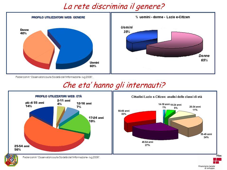 La rete discrimina il genere. Federcomin Osservatorio sulla Società dellInformazione- lug 2006.