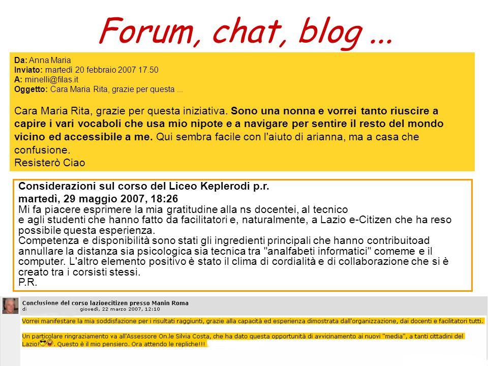 Forum, chat, blog... Da: Anna Maria Inviato: martedì 20 febbraio 2007 17.50 A: minelli@filas.it Oggetto: Cara Maria Rita, grazie per questa... Cara Ma