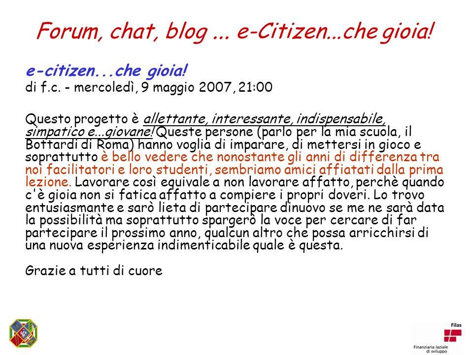 Forum, chat, blog... e-Citizen...che gioia. e-citizen...che gioia.