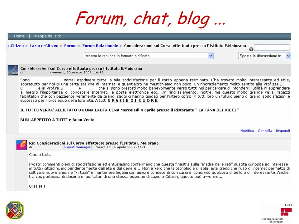 Forum, chat, blog...