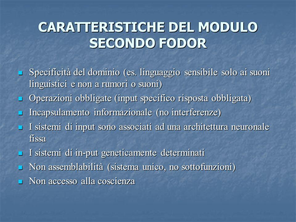 CARATTERISTICHE DEL MODULO SECONDO FODOR Specificità del dominio (es. linguaggio sensibile solo ai suoni linguistici e non a rumori o suoni) Specifici