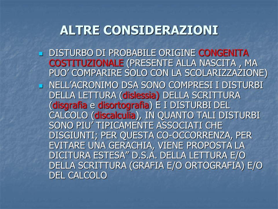 ALTRE CONSIDERAZIONI DISTURBO DI PROBABILE ORIGINE CONGENITA COSTITUZIONALE (PRESENTE ALLA NASCITA, MA PUO COMPARIRE SOLO CON LA SCOLARIZZAZIONE) DIST