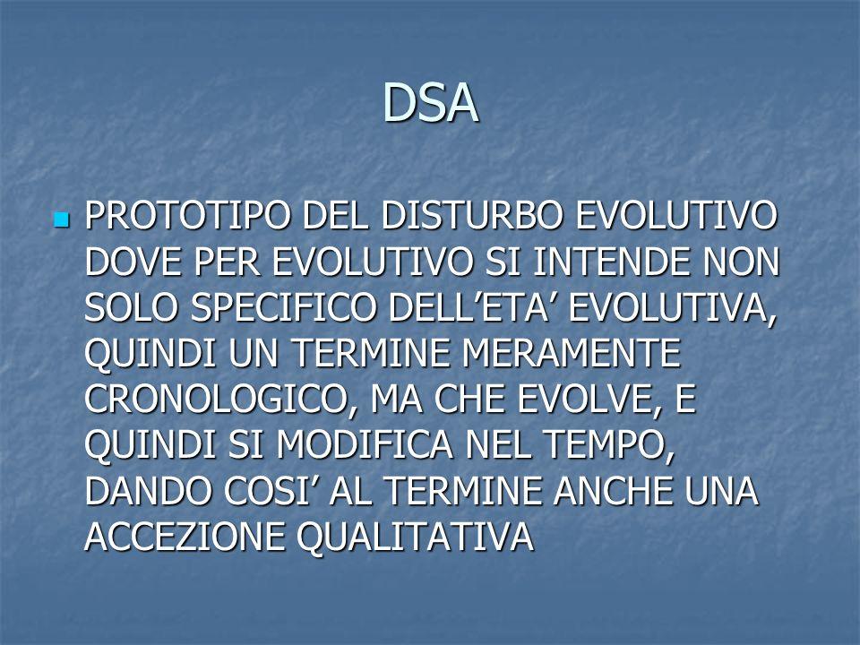 DSA PROTOTIPO DEL DISTURBO EVOLUTIVO DOVE PER EVOLUTIVO SI INTENDE NON SOLO SPECIFICO DELLETA EVOLUTIVA, QUINDI UN TERMINE MERAMENTE CRONOLOGICO, MA C