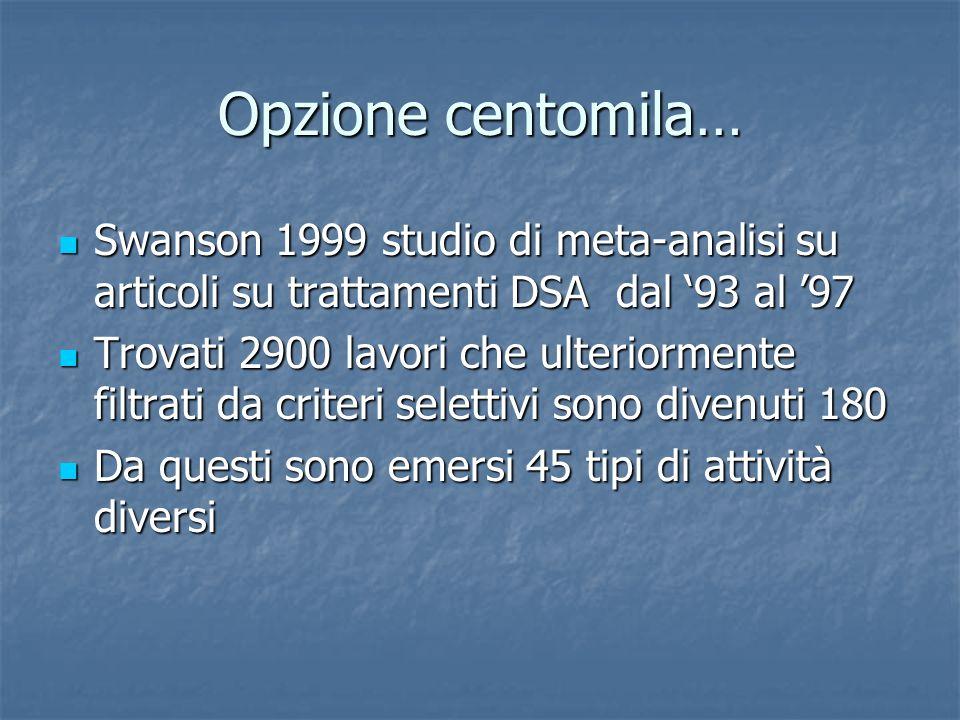 Opzione centomila… Swanson 1999 studio di meta-analisi su articoli su trattamenti DSA dal 93 al 97 Swanson 1999 studio di meta-analisi su articoli su